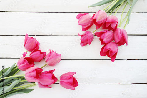 bouquet of  tulips on white board