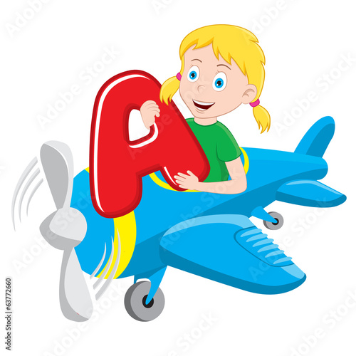 cartoon girl on a plane