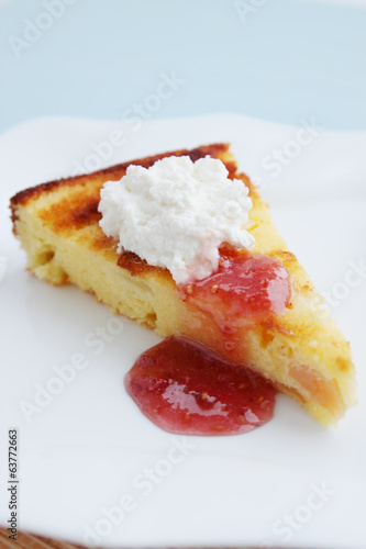 casserole with cheese and jam