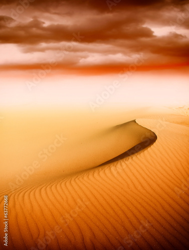 Sand dunes at sunset in the Sahara Desert