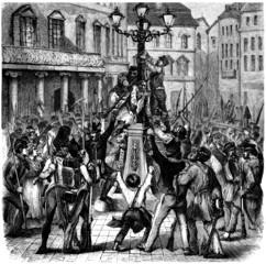 Riot : Lynching a Man - Emeute - 19th century