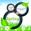 Spring info graphic with text on grey background, vector