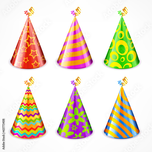 Set of colorful party hats with decorations on white, vector