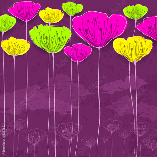 Stylized colorful flowers card, vector illustration