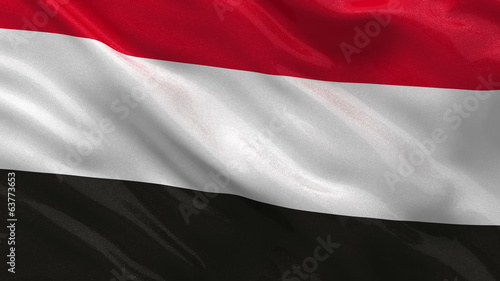 Flag of Yemen waving in the wind - seamless loop