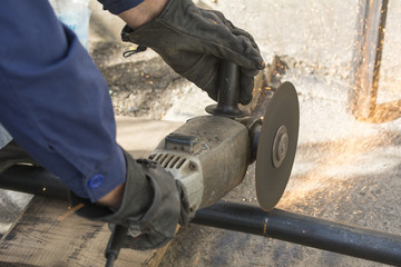 Closeup photo of grinding work