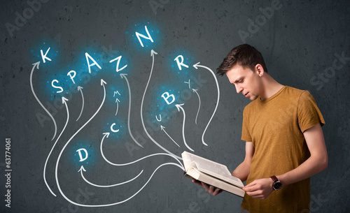 man reading a book while multiple choices are coming out of the