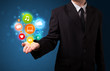Multimedia icons in the hand of a businessman