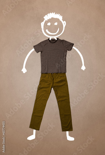 Casual clothes with hand drawn funny character