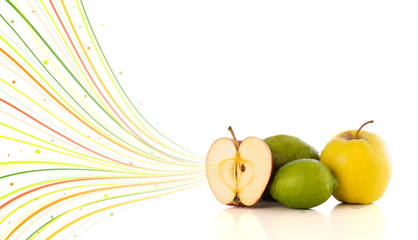 Healthy tropical fruits with colorful abstract lines