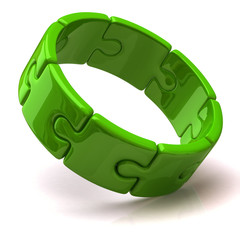 Green puzzle ring
