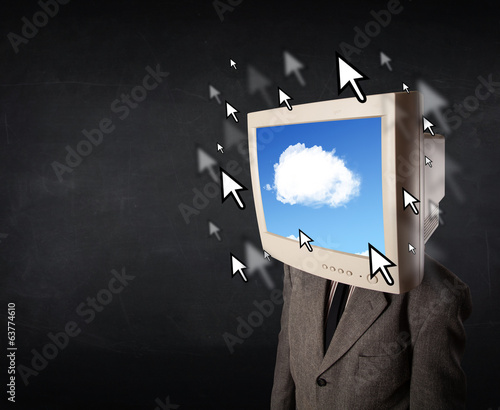 Business man with a monitor on his head, cloud system and pointe