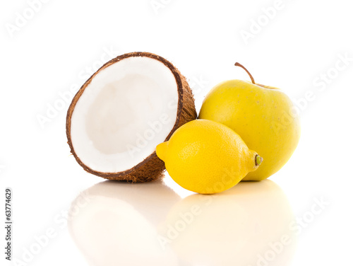 Healthy tropical fresh fruits on white background