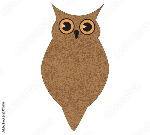 cute brown owl with texture