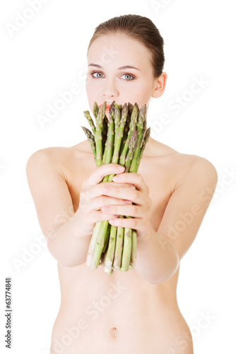 Woman with  asparagus