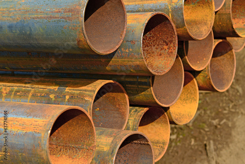 Steel pipes.