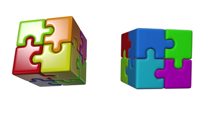 Seamless looping animation of puzzle cube. Includes alpha matte.