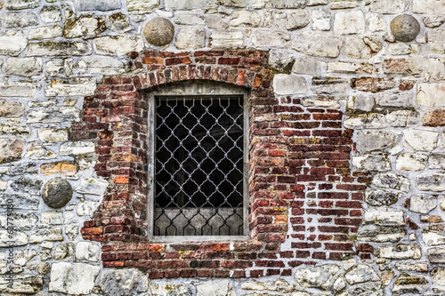 Medieval Fortress Stone - Brick Rampart Window With Ornamental W