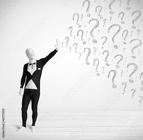 3d human character is body suit looking at hand drawn question m