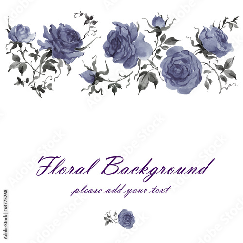 Watercolor floral background roses