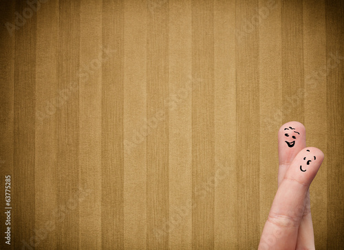 Happy finger smileys with vintage stripe wallpaper background