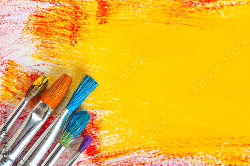 Leinwanddruck Bild Paints and brushes