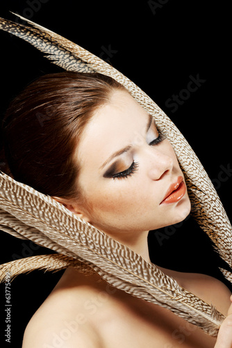 canvas print picture Beautiful woman with brown professional make-up