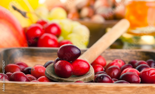 Cranberries in wooden bowl. macro shot