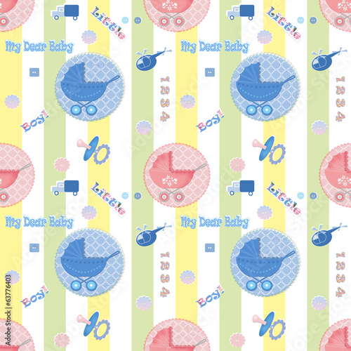 Kids seamless pattern with carriage background