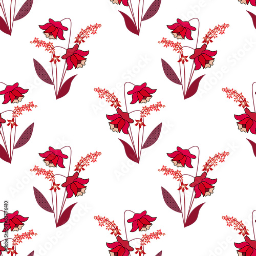 Seamless red floral pattern on white