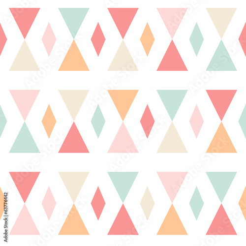 Geometric abstract triangles seamless pattern on white