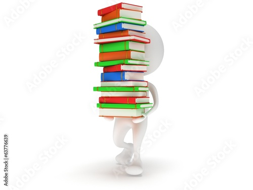 3d white man carry stack of books