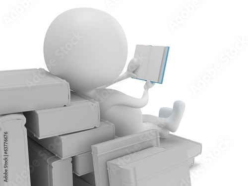 Man reading book. 3d render