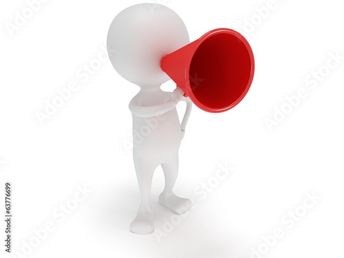 3d white man stand with red megaphone