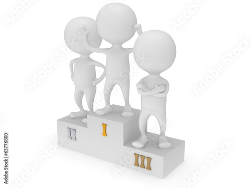 Winners on sports podium isolated on white