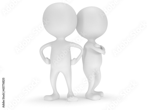 3d people stand on white