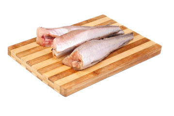 frozen fish hake isolation on white