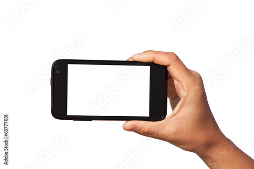 smartphone in hand - 63777081