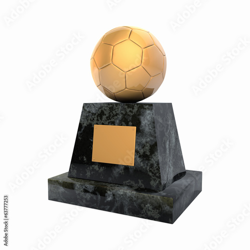 Golden soccer ball award prize statuette
