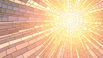 Vector illustration of mosaic sunset.