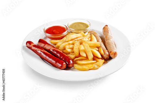 grilled sausage with french fries on a white background