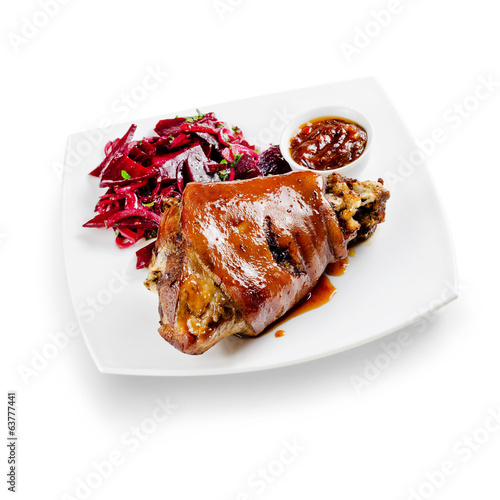 knuckle of pork on a white background