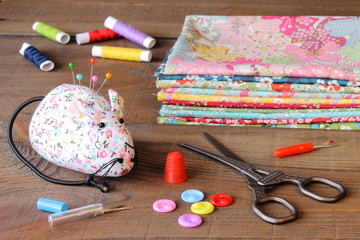Sewing tools and fabrics