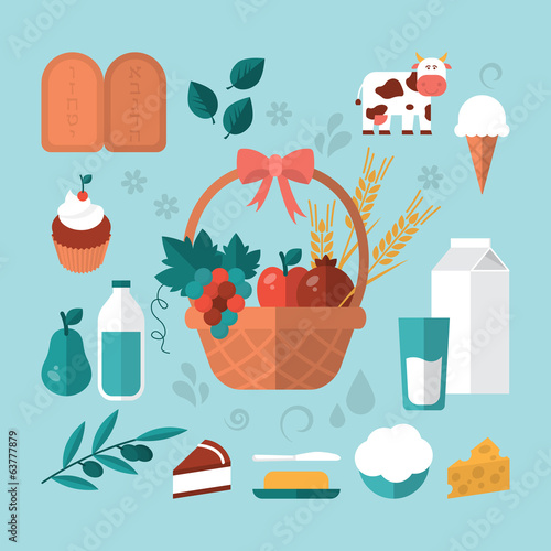 Flat modern design vector concept for Shavuot