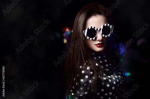 Portrait of stylish girl nightclub