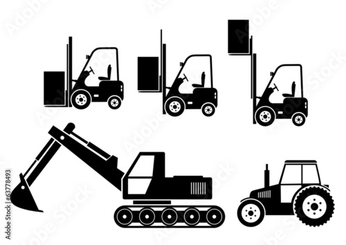 Tractor, excavator and forklift on white background