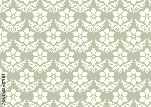 Damask Flower Pattern on Pastel Background