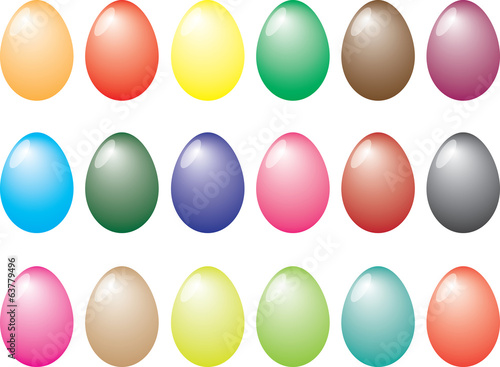 Easter eggs illustrated on white