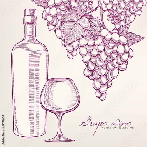background with wine bottle and grapes