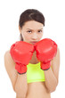 Boxing fitness woman concentrating and protecting pose